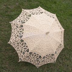 Cotton Lace Parasol Umbrella Woode Hand For Bridal Wedding Decoration Beige