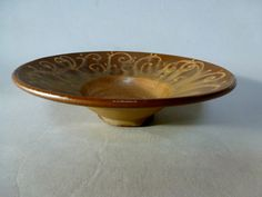 earthenware gold bowl/ open bowl/ ceramic by SharonMirandaPottery