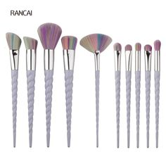 10pcs Spiral Handle Unicorn Makeup Brushes Set Blusher Powder Foundation Face Rainbow Hair Brush Cosmetic Tools Kit 10 Sets/Lot
