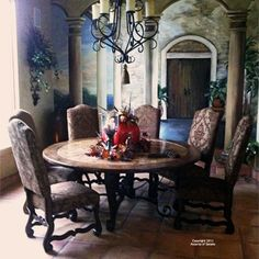 If you are having difficulty making a decision about a home decorating theme, tuscan style is a great home decorating idea. Many homeowners are attracted to the tuscan style because it combines sub… Tuscan Furniture, Decor, Rustic Dining, Tuscan Dining Rooms, Rustic Dining Room, Gold Dining Room Chair, Home Decor, Tuscan Decorating, Dining Room Sets