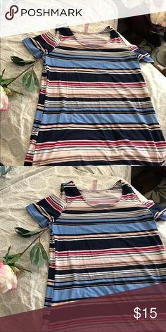 b5a3ae8f552 Cold shoulder striped dress Midi dress that s a cold shoulder! Brightly  colored stripes. XL