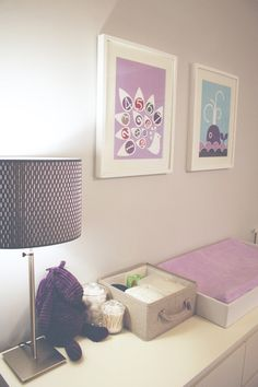 purple and gray-like the idea of an extra long dresser as a changing table-keeps you in arms reach of wipes, diapers, etc. Not crazy about the teal or sharp lines, but might help while brainstorming baby's room :)