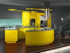 luxus küchen designs modern kompakt einrichtung gelbe oberflächen