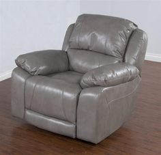 Idaho Taupe Leather Air PU Bustle Back Power Recliner