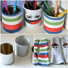 Recycle Old Socks & Cans for pencil caddy