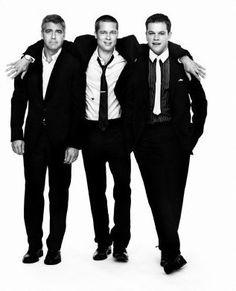 George Clooney, Brad Pitt, and Matt Damon - three of my favorites together! Brad Pitt, Beautiful Men, Beautiful People, Oceans 11, Matt Damon, Raining Men, George Clooney, Famous Faces, Male Models