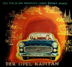 Julius Stürmer Illustration Opel Kapitän poster (1958)