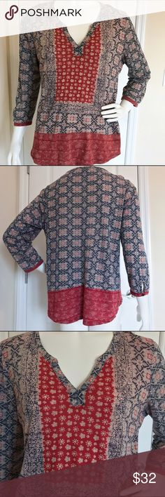 Lucky Brand Batik Print 3/4 Sleeve Top L It's in good condition. Cute buttons on the bottom hem of the sleeves. Very comfortable, fabric. Looks great with jeans or shorts, relaxing and lounging! Lucky Brand Tops