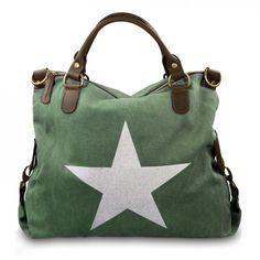 mynewbag.de - #IO.IO.MIO. Ital. Damentasche Leder Canvas Mix großer #Shopper #Stern grün weiß