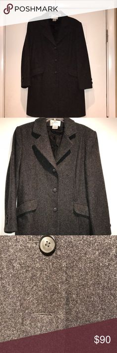 Jaqueline Ferrar Charcoal Grey Wool Coat size 8P Vintage Jaqueline Ferrar Charcoal Grey Wool Coat size 8P. This coat is in excellent used condition! This is such a well made coat! Coat is 100% wool and is very nicely lined. Coat has 4 buttons down the front, but the last button is missing. I took a picture of the missing button on the front of the coat, but just inside the coat are two extra buttons stitched inside so the missing front button can be replaced. 😁. There are two front pockets…
