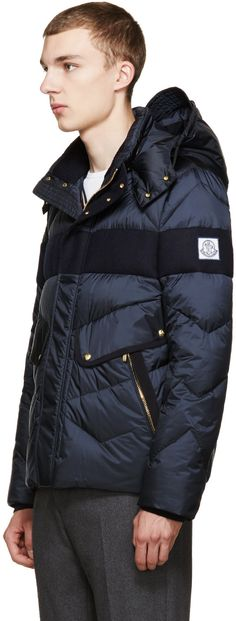 Moncler Gamme Bleu Navy Nylon Wool Demar Jacket