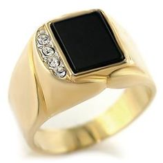 Two Tone Mens Square Ring Black Synthetic Onyx