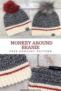 Crochet Adult Hat, Easy Crochet Hat, Crochet Winter Hats, Crochet Beanie Pattern, Crochet For Boys, Easy Crochet Patterns, Crochet Crafts, Crochet Hooks, Free Crochet