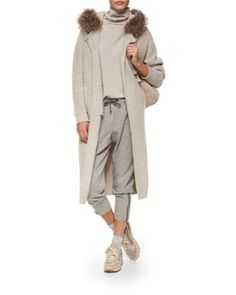 -619T Brunello Cucinelli Fox Fur-Trimmed Hooded Cashmere-Blend Ribbed Coat, Two-Ply Cashmere Top, Jogger Pants & Backpack