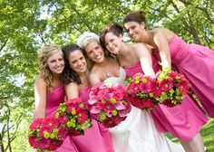 Pink and green wedding flowers (by Flowers for Special Occasions in Omaha, NE)