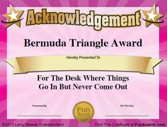 Humorous Awards, Ideas, Certificates - Funny Award Ideas