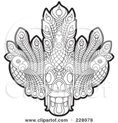 Royalty-Free (RF) Clipart Illustration of a Coloring Page Outline Of A Sri Lankan Devil Dancing Mask by Lal Perera