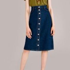 Topshop moto  button front denim midi skirt Mid-length button down and a-line denim skirt with front well pockets and rear jeans style pockets. Washed once but never worn. Like new! Topshop Skirts Midi