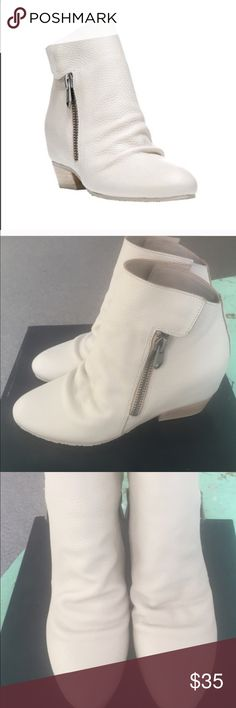 White Leather Ankle Boots Genuine Leather White zipper on side CUTE! This is the lowest offer. Thank you for understanding. Have a great day🤗 Shoes Ankle Boots & Booties