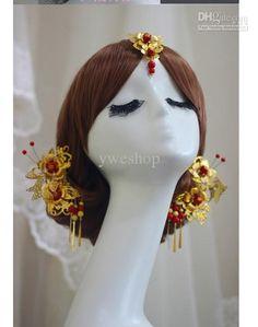 Wholesale Wedding Hair Jewelry - Buy Beauty Classical Chinese Beautiful Bride Headdress Hair Ornaments Jewelry Costume Red Hair Wedding Hair Jewelry $45.62   DHgate