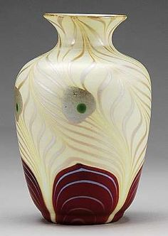 Red Peacock Feather Steuben Vase, red aurene pulled feather design below a lovely creamy yellow feather body