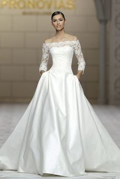 Glamorous, classy, and timeless, we can't stop staring at these Pronovias wedding dresses, they are perfect for a gorgeous ballroom wedding. Take a look and happy pinning!