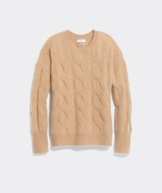 Shop Cashmere Lofty Cable Crewneck at vineyard vines Fall Staples, Pink Clouds, Cashmere, Sweaters For Women, Crew Neck, Rainy Days, Vineyard Vines, Classic Looks, Cable Knit
