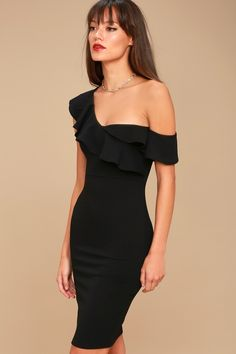 8899f74730f Give Me a Beat Black Off-the-Shoulder Bodycon Midi Dress