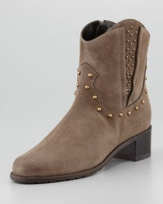 Studley Studded Suede Bootie by Stuart Weitzman at Neiman Marcus.