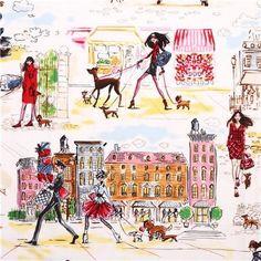 Tissu blanc Robert Kaufman rétro avec des filles en ville à Paris avec un chien