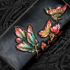 Handmade Leather Tooled Black Peony Cool Leather Wallet Zipper Long Phone Clutch Wallets for Women Handmade Leather Tooled Black Peony Cool Leather Wallet Zipper Long Ph – iwalletsmen Leather Gifts, Leather Bags Handmade, Leather Carving, Leather Tooling, Passport Wallet, Leather Accessories, Leather Jewelry, Leather Working Patterns, Leather Photo Albums