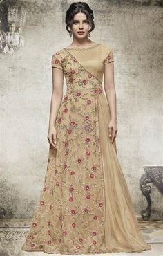 Ineffable Beige Heavy Embroidered Net Bollywood Suit Online