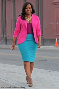 Work outfit - bright colors pink jacket, purple top and turquoise skirt