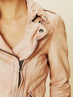 Blush leather jacket.