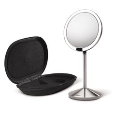 Lights up when your face approaches. Shuts off when you walk away. This is the one I want the mini 10x mirror.