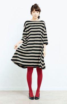 Striped neutral dress & bright tights