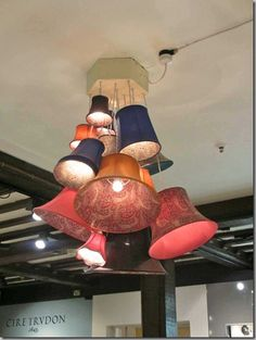 Nice chandelier idea with lamp shades