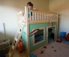 Image result for modern loft bed playhouse