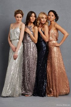 donna morgan bridesmaid dress multi color bridesmaids gowns metallic pailette beading silver grey taupe blue copper rose gold / http://www.deerpearlflowers.com/2015-wedding-trends-sequined-metallic-bridesmaid-dresses/2/