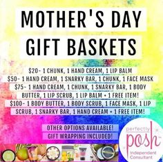 Start thinking about what you're going to get your mom for Mother's Day! Want to get her something different and something she'll appreciate? Check out the items listed below to build your own pampering basket for mom!! Let her pamper herself with these amazing Perfectly Posh products! She'll really enjoy it! If you have any questions or need suggestions let me know!! https://Brianna_DiCave.po.sh/