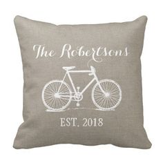Rustic Vintage Bicycle Wedding Monogram Throw Pillows
