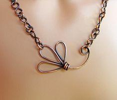 Collana catena a mano fiore rame di sparkflight su Etsy