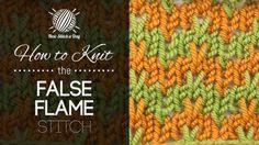 How to Knit the False Flame Stitch on New Stitch a Day at http://newstitchaday.com/how-to-knit-the-false-flame-stitch/