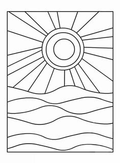 Sonne und Meer Warme und kalte Farben Sun and sea Warm and cold colors – dye Warm And Cold Colours, Patchwork Quilting, Patchwork Patterns, Landscape Quilts, Kindergarten Art, Art Lessons Elementary, Colouring Pages, Coloring, Elements Of Art