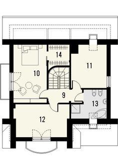 Projekt domu Bella 4 - rzut poddasza Malaga, Bella, Floor Plans, House Styles, Balcony