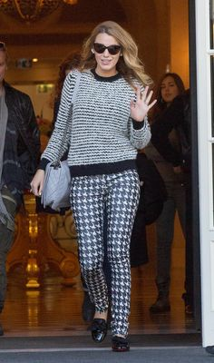 Blake Lively Looks Weekend-Perfect in a Mixed Prints Sweater Outfit by Etoile Isabel Marant