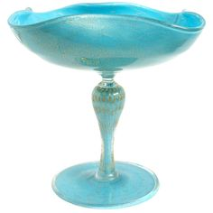 Alfredo Barbini Murano Gold Flecks Blue Italian Art Glass Compote Candy Bowl | From a unique collection of antique and modern bowls and baskets at https://www.1stdibs.com/furniture/decorative-objects/bowls-baskets/