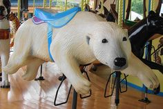 Polar Bear Carousel Animal at the Akron Zoo. The more unique it's creatures? The greater the Carousel! Akron Zoo, Carosel Horse, Wooden Horse, Painted Pony, Merry Go Round, Zebras, Beautiful Horses, Dinosaur Stuffed Animal, Creatures