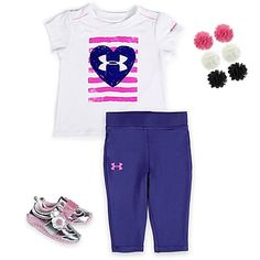 Your active girl will love this comfy combo. A performance athletic bodysuit or T-shirt and pant in in bold navy and pink pairs well with silver and pink sneaks (decorated with flowers, of course). Matching floral hair clips take it to the finish line.