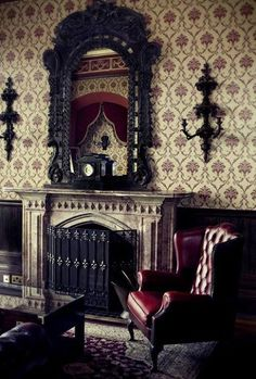 My sitting room in my GOTHIC MANSION....I can't wait to entertain my Sister, Margot....yes! We're going to have tea & enjoy some rare antique books! LOL